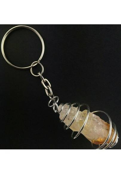 Rough CITRINE Quartz Point Keychain Keyring Hand Made on SILVER Plated Spiral Gift-1