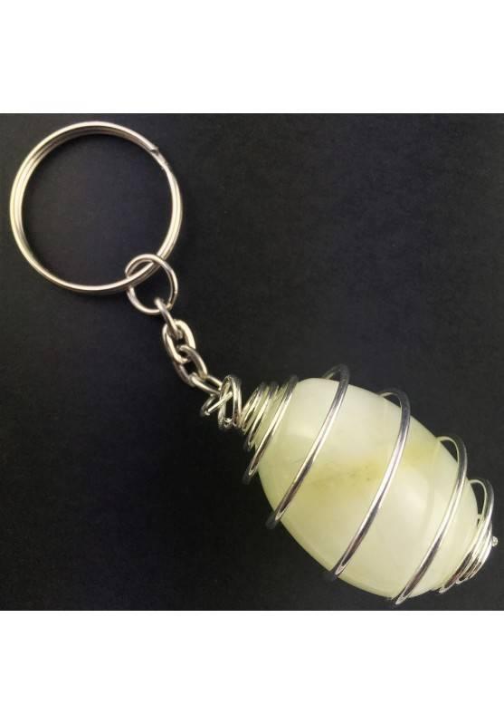 Green JADE Keychain Keyring - VIRGO Zodiac Silver Plated Spiral Gift Idea A+-2