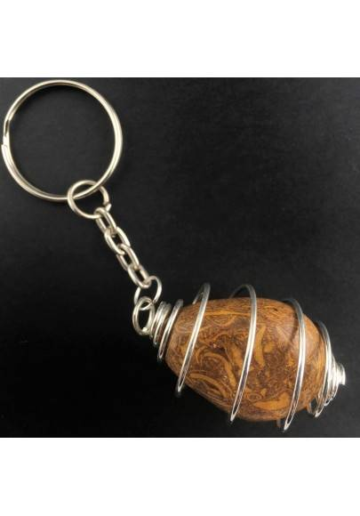 STROMATOLITE Tumblestone Keychain Keyring - Handmade SILVER Plated Spiral Gift Idea-1