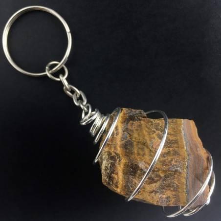 Tiger's EYE Stone Keychain Keyring - LEO Zodiac Silver Plated Spiral Gift Idea A+-1