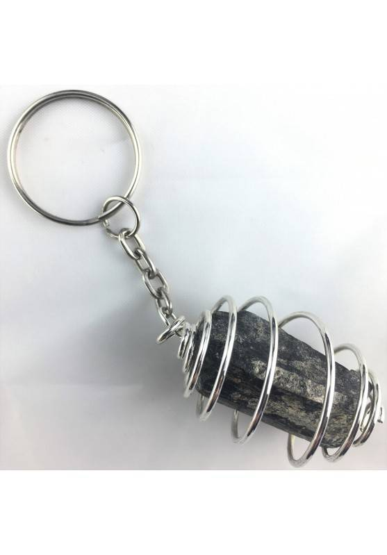 TOURMALINE Keychain Keyring - TAURUS GEMINI LIBRA Zodiac Plated Silver-1