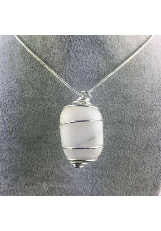 White AGATE Hand Made Pendant on Silver Plated Spiral Gift Idea A+-1