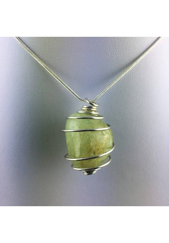 Green Jade Pendant Hand Made on Silver Plated Spiral Gift Idea A+-1