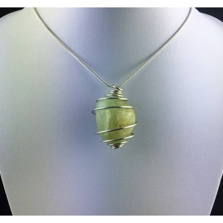 Green Jade Pendant Hand Made on Silver Plated Spiral Gift Idea A+-2