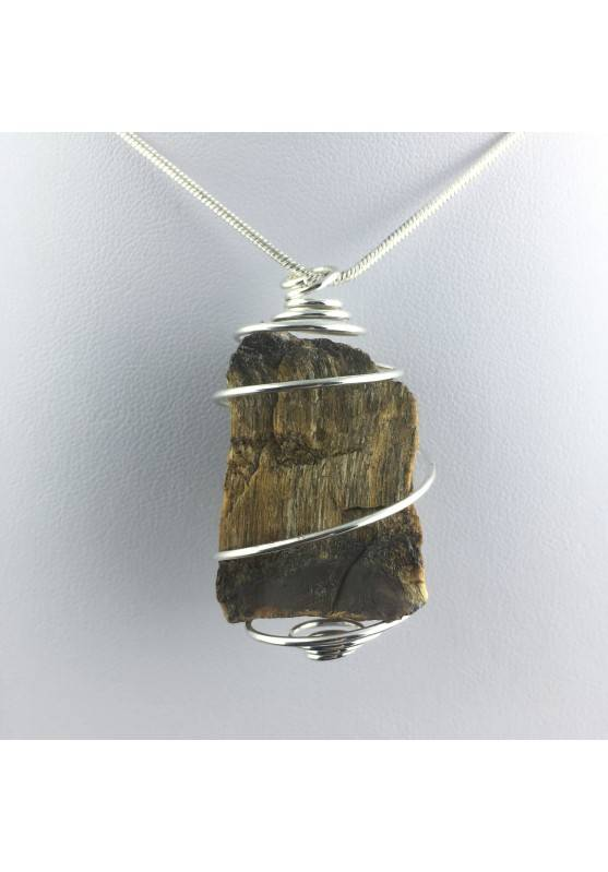 Rough Tiger's Eye Pendant Handmade Necklace Silver Plated Spiral Chain Stone-1
