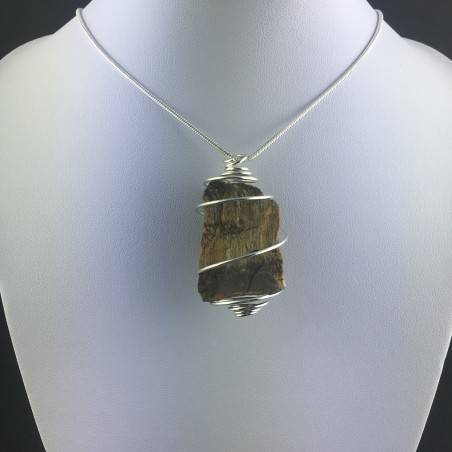 Rough Tiger's Eye Pendant Handmade Necklace Silver Plated Spiral Chain Stone-2