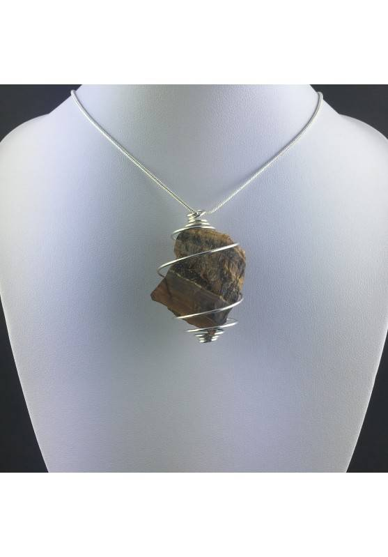 Rough Tiger's Eye Pendant Handmade Necklace Silver Plated Spiral Chain Stone-5
