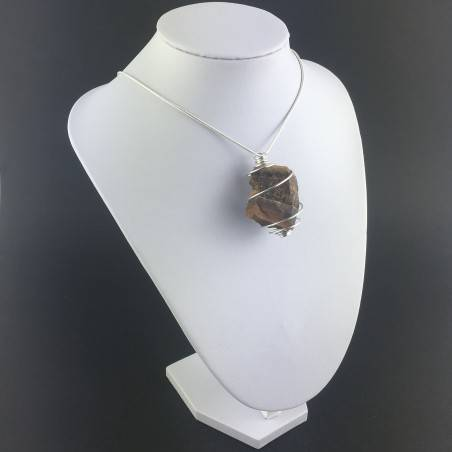 Rough Tiger's Eye Pendant Handmade Necklace Silver Plated Spiral Chain Stone-6