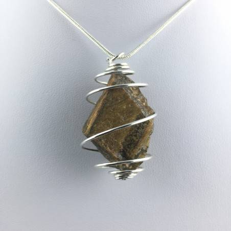 Rough Tiger's Eye Pendant Handmade Necklace Silver Plated Spiral Chain Stone-7