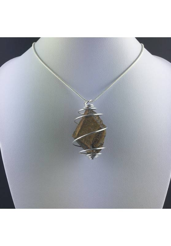 Rough Tiger's Eye Pendant Handmade Necklace Silver Plated Spiral Chain Stone-8