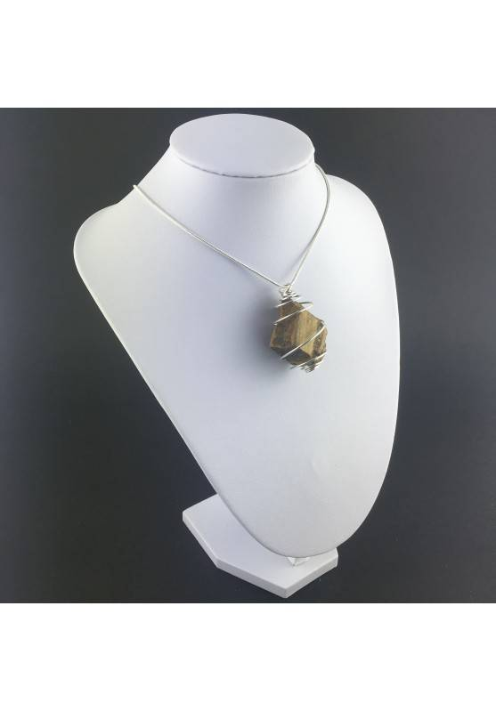 Rough Tiger's Eye Pendant Handmade Necklace Silver Plated Spiral Chain Stone-9