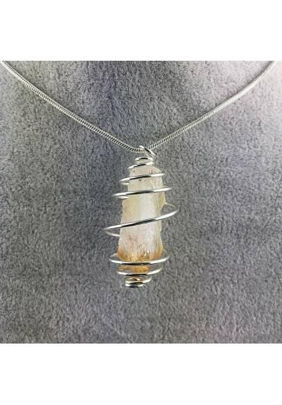 Point CITRINE Pendant Quartz Handmade Silver Plated Spiral Minerals Chakra Healing-1
