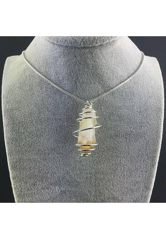 Point CITRINE Pendant Quartz Handmade Silver Plated Spiral Minerals Chakra Healing-2
