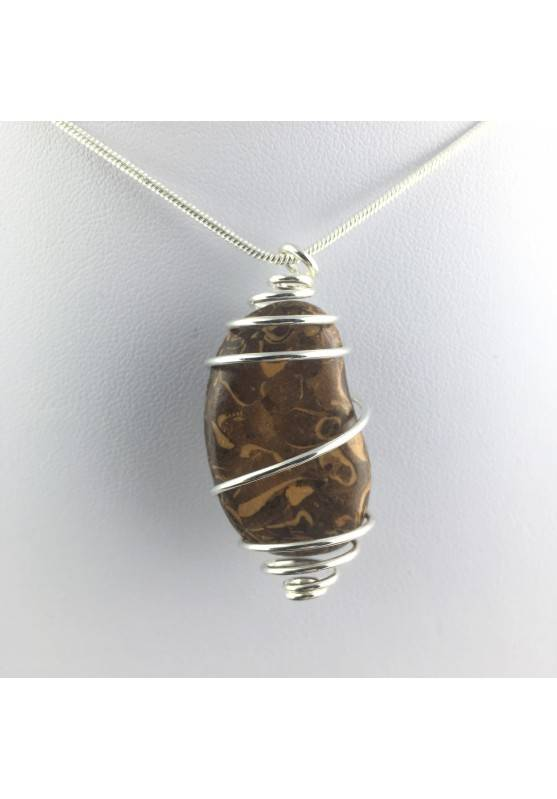 Pendant STROMATOLITE Hand Made on Silver Plated Spiral Gift Idea A+-1
