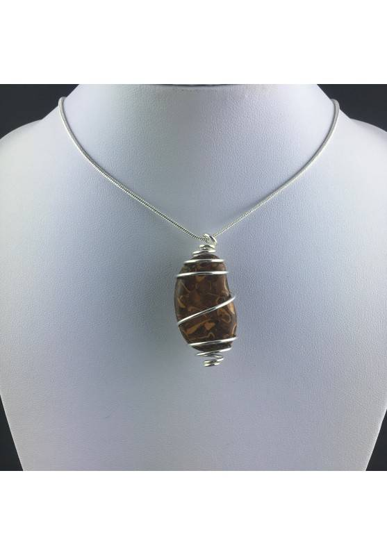 Pendant STROMATOLITE Hand Made on Silver Plated Spiral Gift Idea A+-2