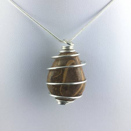 Pendant STROMATOLITE Hand Made on Silver Plated Spiral Gift Idea A+-4