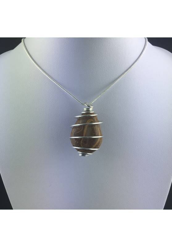Pendant STROMATOLITE Hand Made on Silver Plated Spiral Gift Idea A+-5