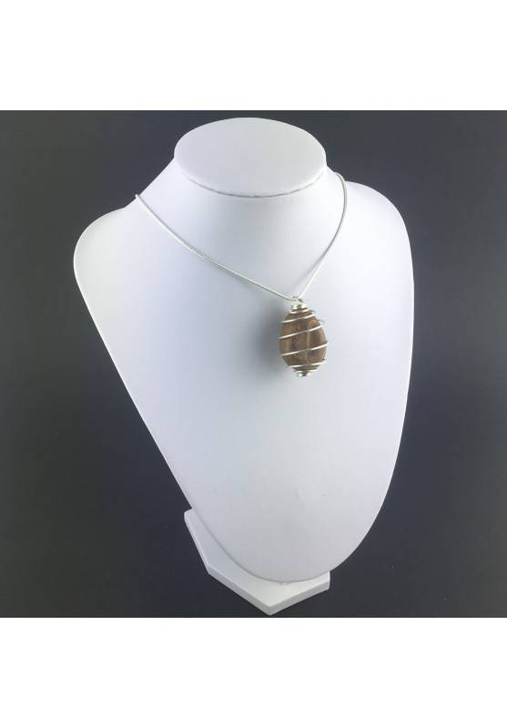 Pendant STROMATOLITE Hand Made on Silver Plated Spiral Gift Idea A+-6