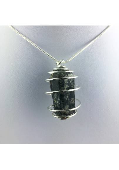 Pendant Black TOURMALINE Hand Made on Silver Plated Spiral Gift Idea-1