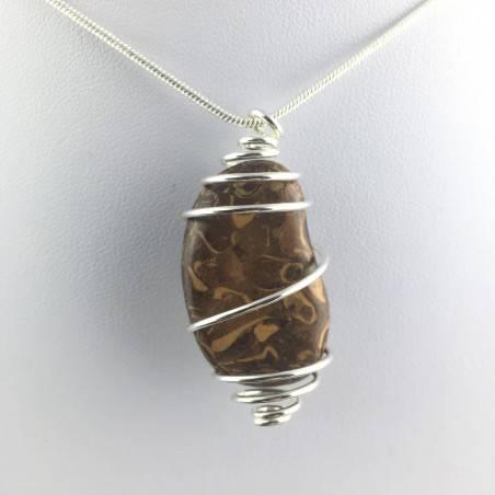 Pendant STROMATOLITE - Handmade Silver Plated Spiral Gift Idea Fossile A+-1