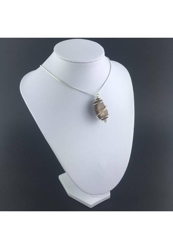 Pendant STROMATOLITE - Handmade Silver Plated Spiral Gift Idea Fossile A+-3