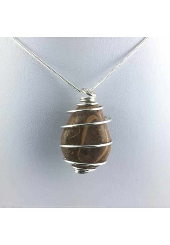 Pendant STROMATOLITE - Handmade Silver Plated Spiral Gift Idea Fossile A+-4