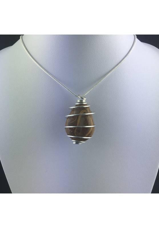 Pendant STROMATOLITE - Handmade Silver Plated Spiral Gift Idea Fossile A+-5