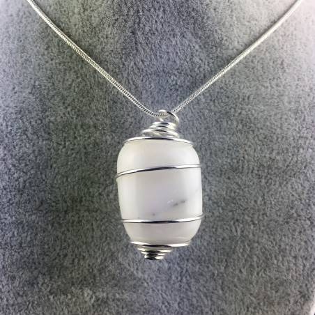 White AGATE Pendant - CANCER Zodiac Silver Plated Spiral Gift Idea A+-1