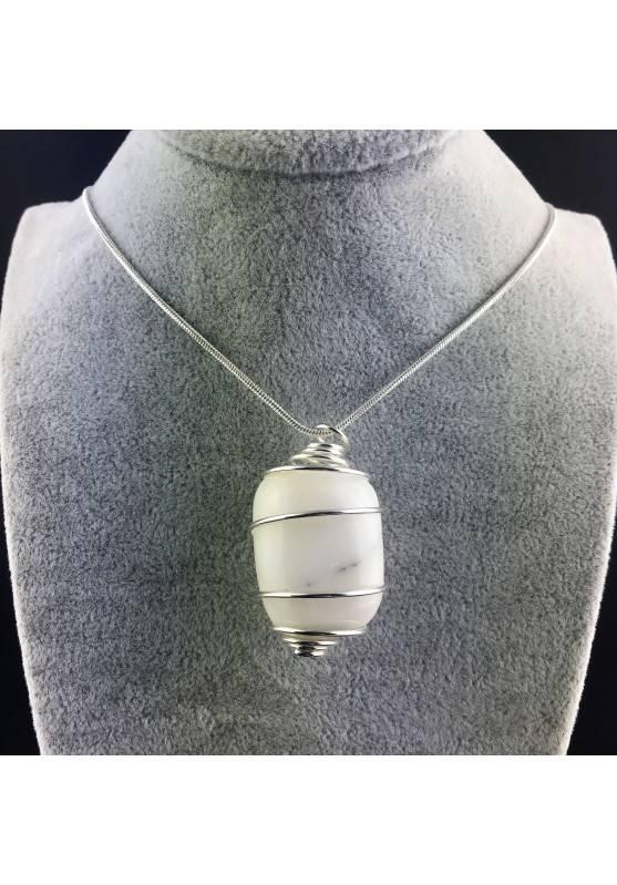 White AGATE Pendant - CANCER Zodiac Silver Plated Spiral Gift Idea A+-2
