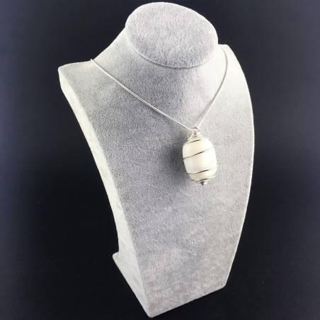 White AGATE Pendant - CANCER Zodiac Silver Plated Spiral Gift Idea A+-3