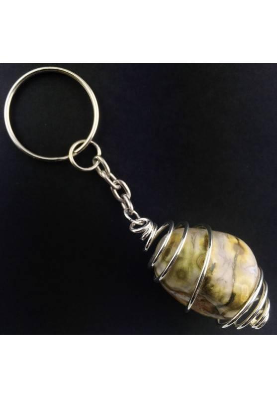 ORBICULAR OCEAN JASPER Keychain Keyring Handmade SILVER Plated Spiral-1