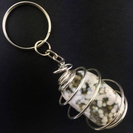 ORBICULAR OCEAN JASPER Keychain Keyring Handmade SILVER Plated Spiral-2