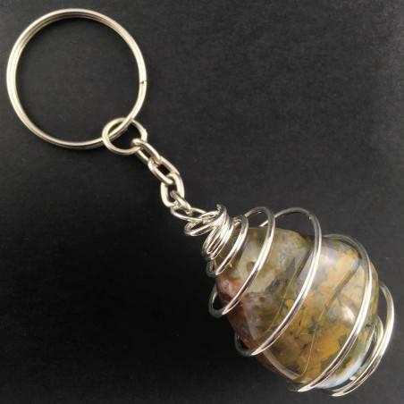 ORBICULAR OCEAN JASPER Keychain Keyring Handmade SILVER Plated Spiral-3