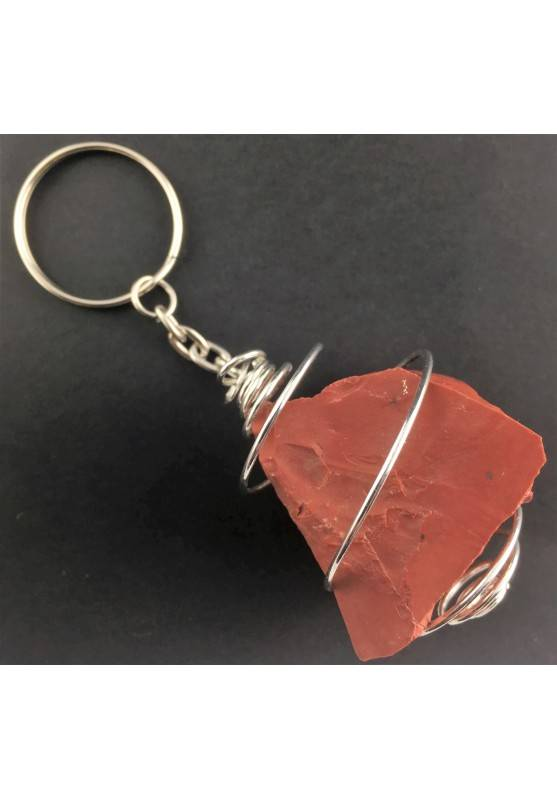 RED Jasper Keychain Keyring - ARIES Zodiac Silver Plated Spiral Gift Idea A+-1