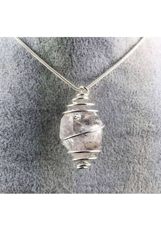 Ciondolo DIAMANTE DI HERKIMER Montata Artigianalmente Spirale Placcata Argento-1