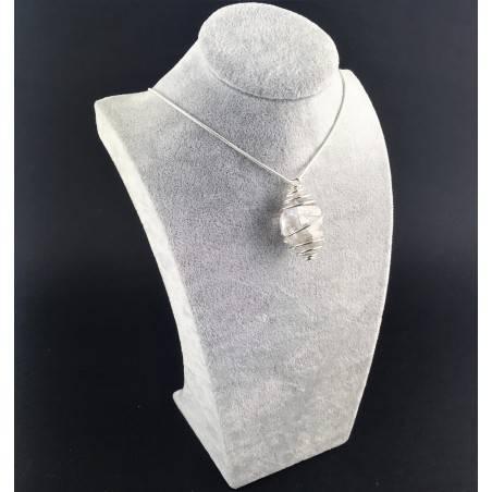 Ciondolo DIAMANTE DI HERKIMER Montata Artigianalmente Spirale Placcata Argento-3