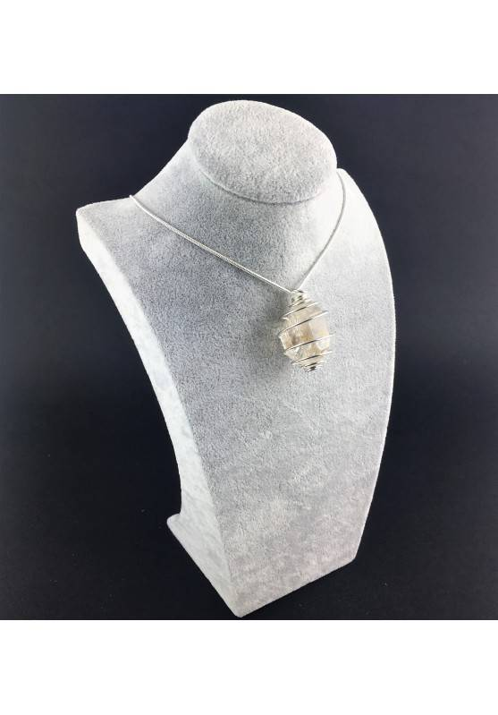 HERKIMER DIAMOND Pendant Hand Made on Silver Plated Spiral Healing Crystals-9