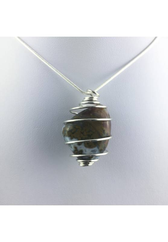 Ocean JASPER Orbicolar Pendant Tumble Stone Hand Made on SILVER Plated Spiral A+-1