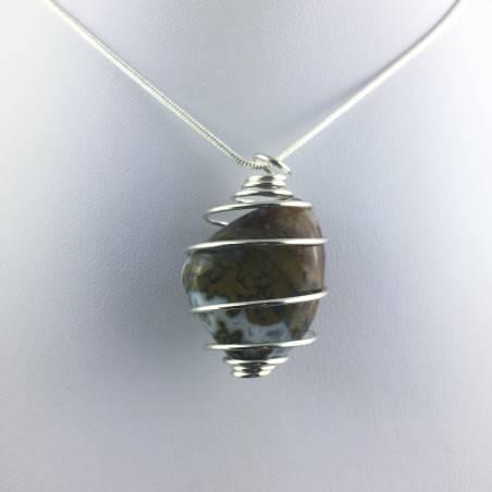 Ocean JASPER Orbicolar Pendant Tumble Stone Hand Made on SILVER Plated Spiral A+-1