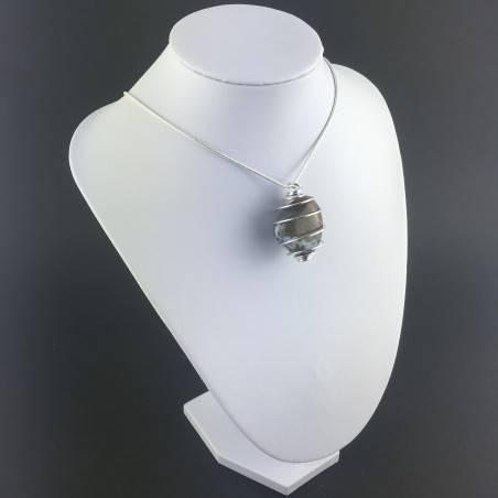 Ocean JASPER Orbicolar Pendant Tumble Stone Hand Made on SILVER Plated Spiral A+-3