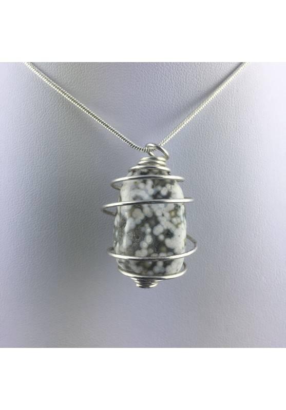 Ocean JASPER Orbicolar Pendant Tumble Stone Hand Made on SILVER Plated Spiral A+-4