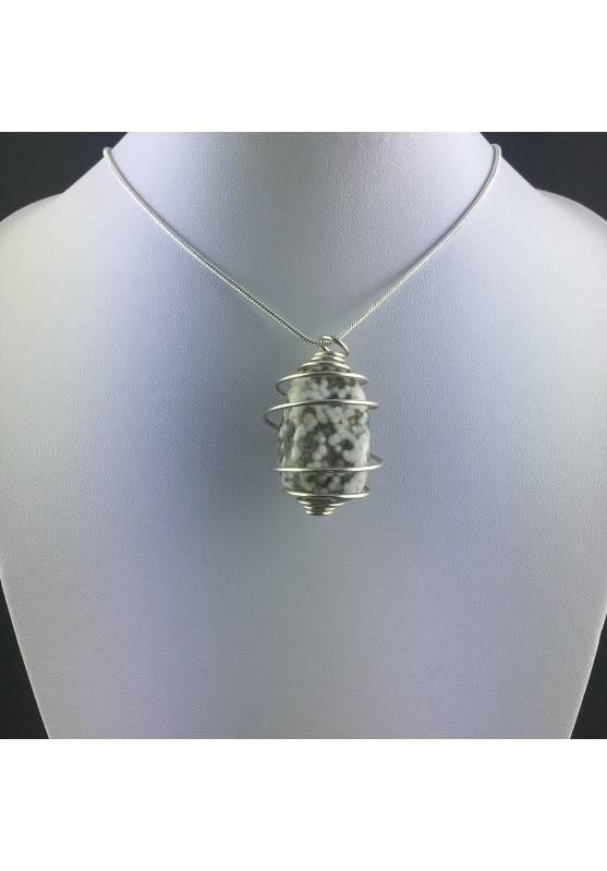 Ocean JASPER Orbicolar Pendant Tumble Stone Hand Made on SILVER Plated Spiral A+-5