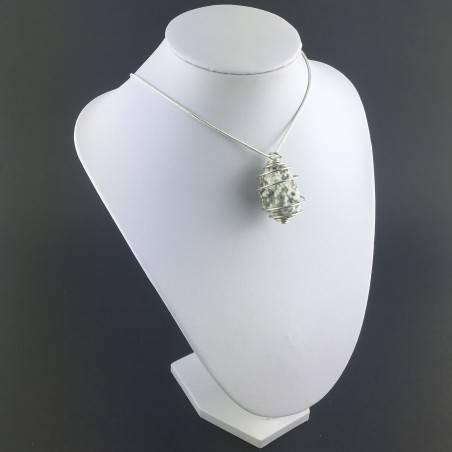 Ocean JASPER Orbicolar Pendant Tumble Stone Hand Made on SILVER Plated Spiral A+-6