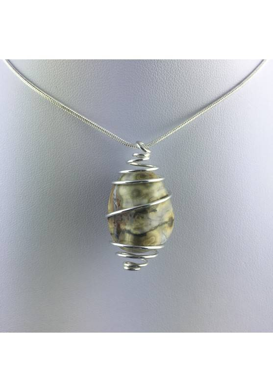 Ocean JASPER Orbicolar Pendant Tumble Stone Hand Made on SILVER Plated Spiral A+-7