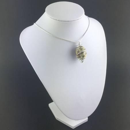 Ocean JASPER Orbicolar Pendant Tumble Stone Hand Made on SILVER Plated Spiral A+-9
