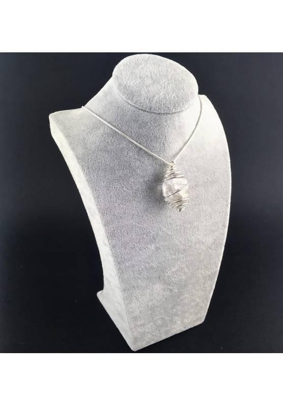 HERKIMER DIAMOND Pendant - Quartz Handmade SILVER Plated Spiral Gift Idea A+-3