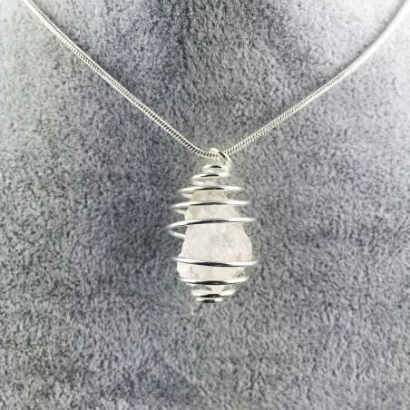 HERKIMER DIAMOND Pendant - Quartz Handmade SILVER Plated Spiral Gift Idea A+-4