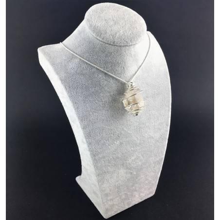 HERKIMER DIAMOND Pendant - Quartz Handmade SILVER Plated Spiral Gift Idea A+-9