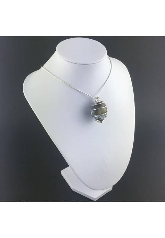 Ocean JASPER Orbicolar Pendant Tumble Stone - LEO GEMINI PISCES Zodiac Silver A+-3