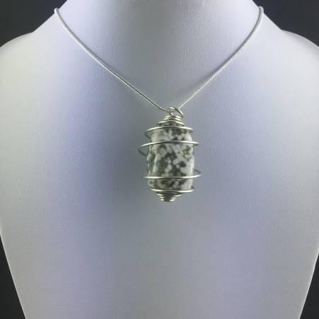 Ocean JASPER Orbicolar Pendant Tumble Stone - LEO GEMINI PISCES Zodiac Silver A+-5